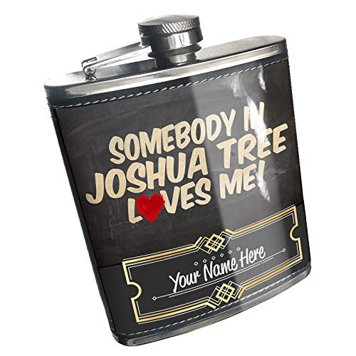 Neonblond Flask Somebody in Joshua Tree Loves me, California, National park Custom Name Stainless Steel