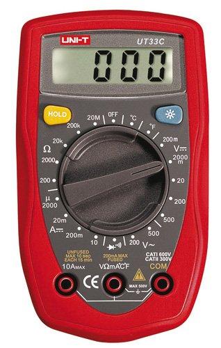 Uni-T UT-33C Multimetro Palmare con Temperatura, Rosso Uni-Trend