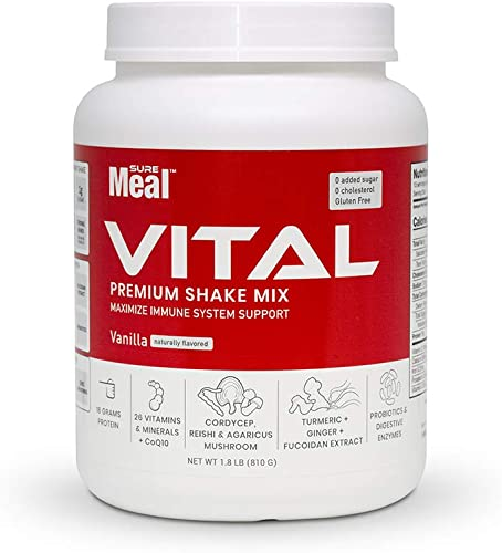 SureMeal Vital Meal Replacement – Includes an Array of Immune Boosting, Organ Supporting Vitamins Herbs. Vanilla Flavor Naturally Sweetened with Stevia, Gluten-Free, 1.8 lbs Powder, 15 Servings
