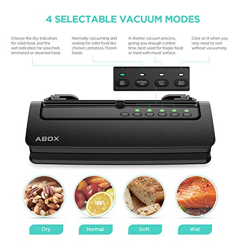 ABOX V63 Vacuum Sealer Machine, Automatic Food Vacuum Air Sealing System with Built-in Cutter, Starter Kit Roll and Holder for Food Saver Storage