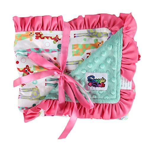 Baby Girls Reversible Minky Velboa Stroller Blanket (Choose Color) (Mint Giraffes)