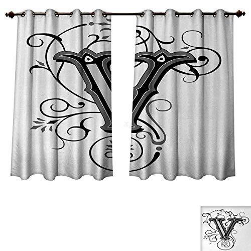 Anzhouqux Letter V Blackout Thermal Backed Curtains for
