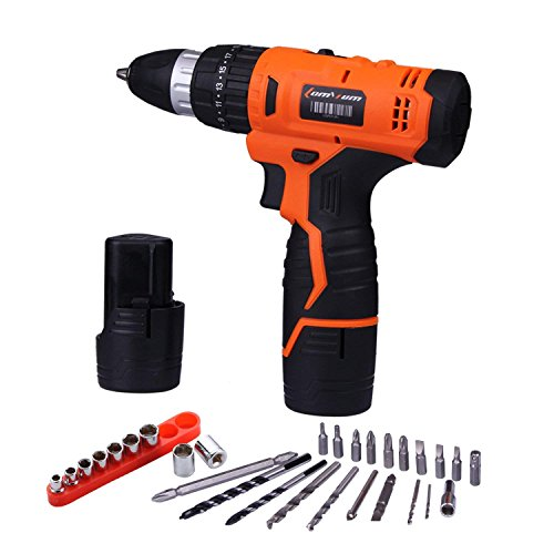 (12V 2.0Ah Lithium-Ion Cordless Drill Driver Set - 3/8-inch All-Metal Chuck 2-Speed Max Torque 239 In-lbs 21+1 Position with LED, 1 Hour Fast Charger)