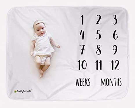 LovelySprouts Premium Fleece Monthly Milestone Blanket Large 60 x 40 Size Perfect for Baby Boy or Girl Photo Props Will Not Wrinkle or Fade Like Muslin Blankets