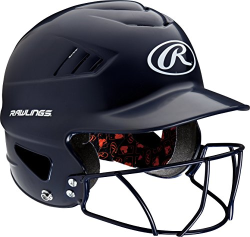 (Rawlings Coolflo NOCSAE Molded Batting Helmet with Face Guard, Navy, One Size )