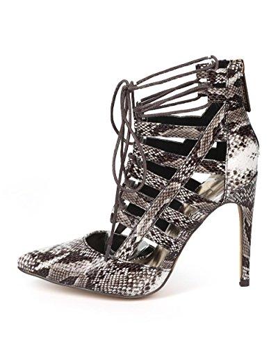 Gilly Liliana Tie DK85 Leatherette Pump Stiletto Pointy Gladiator Toe Python Women Caged xqr4qBwYC