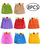 jollylife 8PCS Hawaiian Luau Hula Skirts - Grass Hibiscus Flowers...