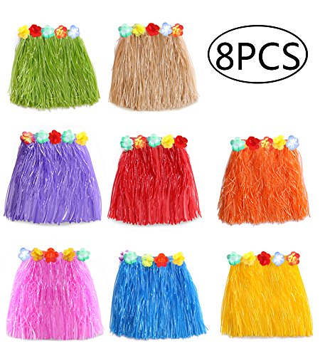 jollylife 8PCS Hawaiian Luau Hula Skirts - Grass Hibiscus Flowers Birthday Tropical Party Decorations Favors Supplies -