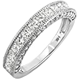 Image of 1.40 Carat (ctw) 14K White Gold Princess & Round Diamond Ladies Anniversary Wedding Band (Size 5)