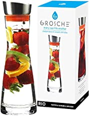 GROSCHE Rio Hand Blown Glass Infuser Water Pitcher, Wine decanter, or Sangria jug with strainer in lid with built in wine aerator 1L water bottle, glass pitcher , infuser water bottle