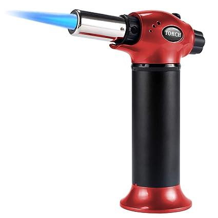 Linterna de soplado de cocina, linterna recargable y encendedor de llama ajustable para crema Brulee