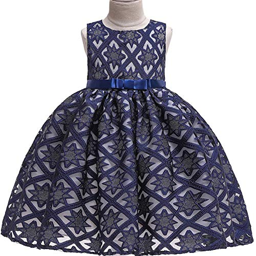 One Shoulder Printed Dress for Girls Princess Flower Wedding Pageant Party Dresses,Navy,7]()