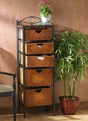 SEI Southern Enterprises 5 Drawer Storage Unit with Wicker Baskets, Black and Caramel Finish