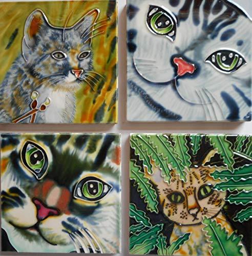 Tile Craft Cat Set Four Ceramic Art Tiles 4 x 4 inches Easel Backs (4x4 Tile Art)
