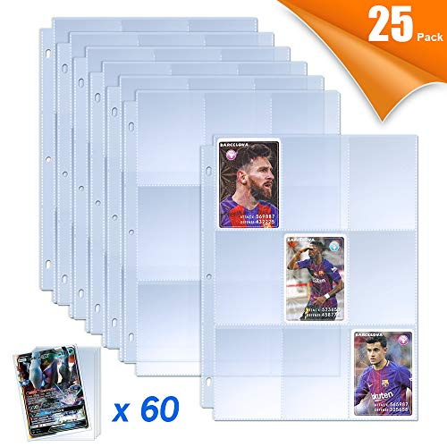 TAOPE Baseball Card Sleeves Page Protectors with 60 Pieces Pokemon Trading Card Sleeves Binder Sheets Perfect for 3 Ring Binder