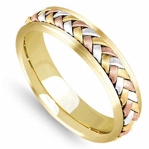 14K Tri Color Gold Braided Wicker Style Men's Comfort Fit Wedding Band (5.5mm) Size-10c1