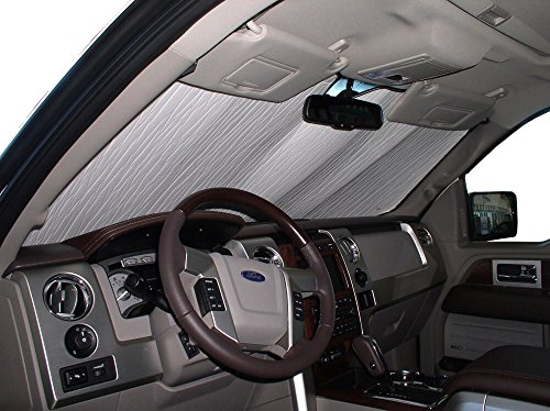 The Original Windshield Sun Shade, Custom-Fit for Ford F-150 Truck (Crew Cab) 2009, 2010, 2011, 2012, 2013, 2014, Silver Series