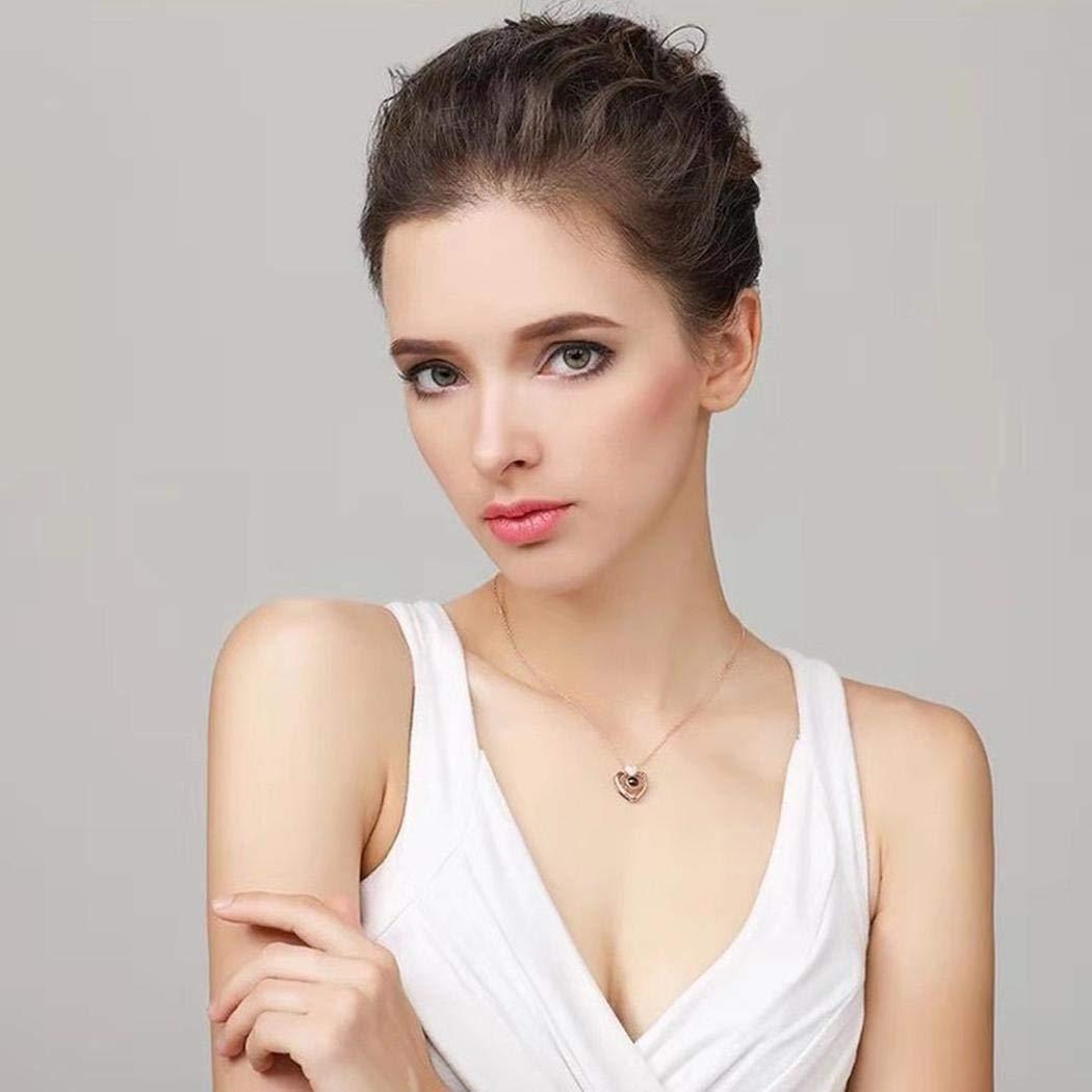 rokirs Collar Colgante de la joyer/ía de la Cadena del Encanto de la Forma del coraz/ón de Las Nuevas Mujeres de la Manera Collares