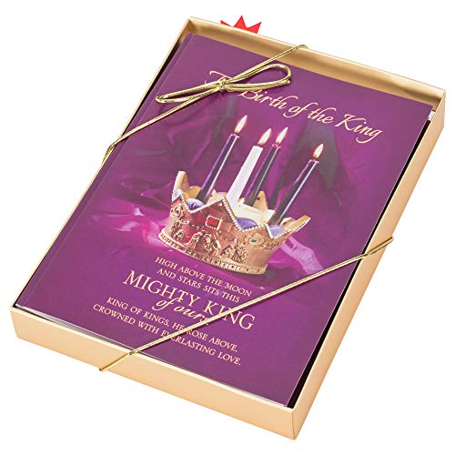 Birth of The King Royal Purple 7 x 5 Paper Christmas Greeting Cards Pack of 24