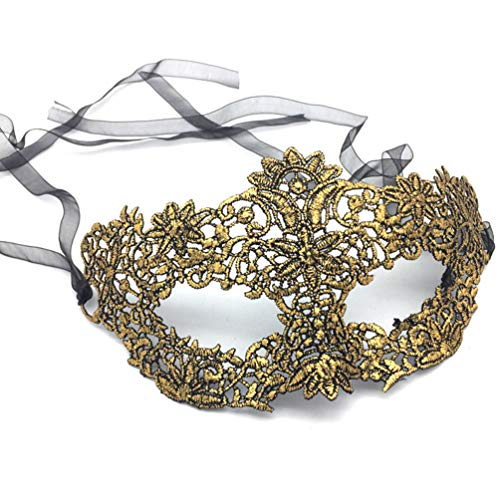 (iMapo Masquerade Masks, Women's Sexy Lace Venetian Style Eye Mask for Opera Halloween Dancing Evening Party Costume Ball - Vintage Gold)