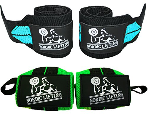 """Nordic Lifting Wrist Wraps (2 Pairs/4 Wraps) 14"""" for Weightlifting 