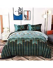 Bedding Queen Comforter Set Black Marble Print Geometric Design,Soft Microfiber Quilts with 2 Pillowcases,Modern Trendy All Season Bedding Set
