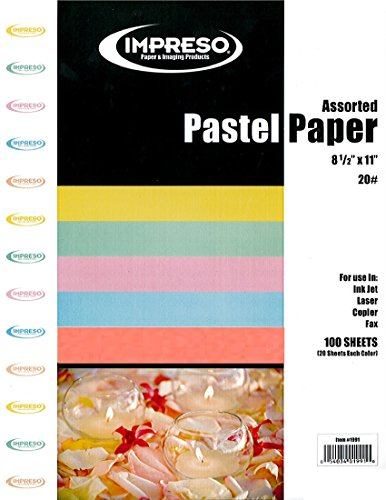 Impreso Assorted Colors (Yellow - Green - Pink - Blue - Salmon) Colored Pastel Premium Color Copy Paper, 8 1/2 x 11 inches Letter Size, 100 Total Sheets (20 Sheets (Pastel Color Copy Paper Letter)