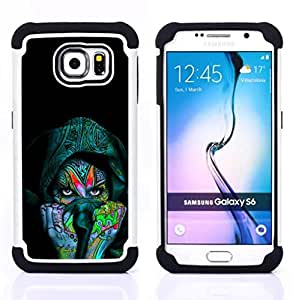 - Colorful Indian Woman/ H???¡¯????brido 3in1 Deluxe Impreso duro Soft Alto Impacto caja de la armadura Defender - SHIMIN CAO - For Samsung Galaxy S6 G9200