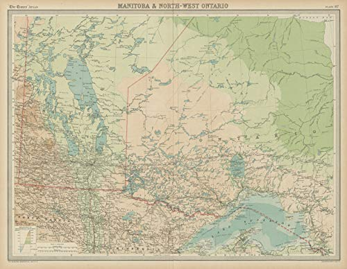 Manitoba & North-west Ontario. Canada. The Times - 1922 - Old map - Antique map - Vintage map - Printed maps of Canada
