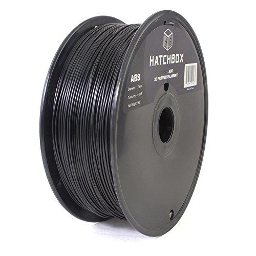 HATCHBOX 3D ABS-1KG1.75-BLK ABS 3D Printer Filament, Dimensional Accuracy +/- 0.05 mm, 1 kg Spool, 1.75 mm, Black HATCHBOX Supplies
