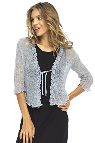 Back From Bali Womens Sheer Shrug Cardigan Sweater Ruffle Lightweight Knit  Grey One Size ()