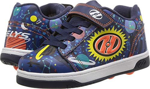 Black Multi Kids Shoes - Heelys Boys' Dual Up X2 Tennis Shoe, Navy/Black/Multi Orbit, 5 M US Little Kid