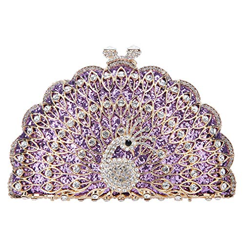 And For Clutches Purple Animal Cute Peacock Evening Purses Bag Clutch Glitter Bags Women nRwwH0qvp