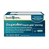 Basic Care Ibuprofen Liquid Gels 200 mg, Pain Reliever/Fever Reducer (Liquid Filled Capsules), 160 Count