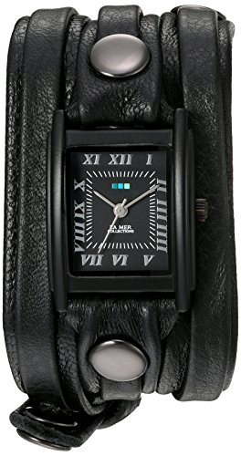 - La Mer Collections Women's Quartz Stainless Steel and Leather Watch, Color:Black (Model: LMLW7011)