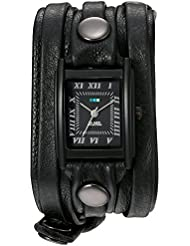 La Mer Collections Womens Quartz Stainless Steel and Leather Watch, Color:Black (Model: LMLW7011)