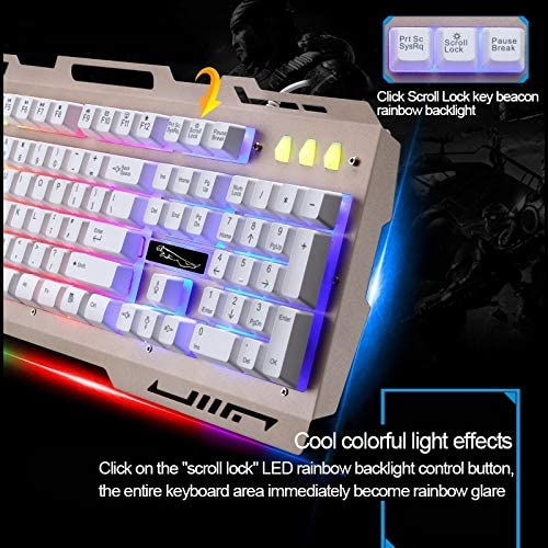 Computer Keyboard G700 USB RGB Backlight Wired Optical Gaming Mouse and Keyboard Set Wired Keyboard Black Keyboard Cable Length: 1.35m Mouse Cable Length: 1.3m Color : Black