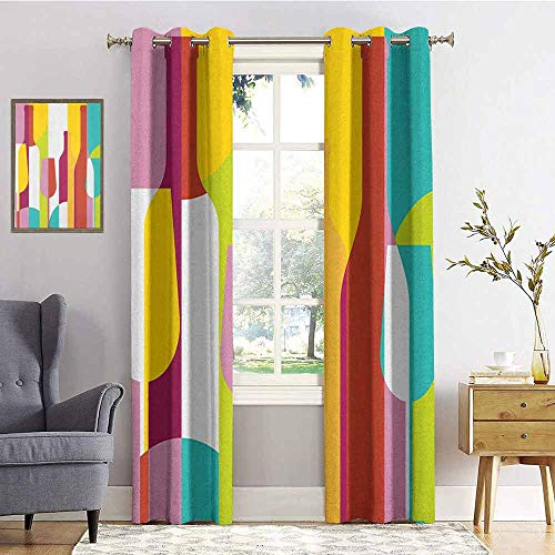 hengshu Wine Shading Insulated Curtain Colorful Abstract Wine Bottle Glass Silhouettes Modern Party Drinks Geometric Design for Living Room or Bedroom W72 x L72 Inch Multicolor
