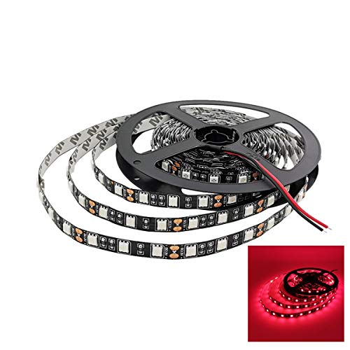YUNBO LED Strip Lights Red 620-625nm Black PCB Board NO Waterproof 12V Flexible LED Tape Lights Cuttable 300 Units SMD 5050 LED Lighting 16.4ft/5m