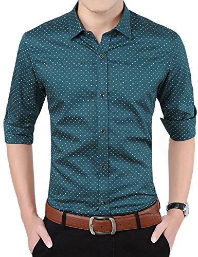 Tzou メンズ シャツ 長袖 ワイシャツ ビジネス 100%綿 ドット柄 おしゃれ 紳士服 フォーマル ゴルフシャツ サラリーマン 通勤 素晴らしい ボタン 形態安定 Yシャツ かっこいい 男性