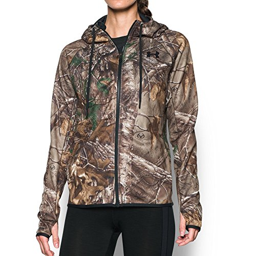 Under Armour Women's Icon Camo Full Zip Hoodie, Realtree Ap-Xtra/Aluminum, XX-Large