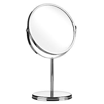 Round Swivel Table Mirror On Stand/Free Standing Bathroom Shaving U0026  Makeup Mirror Chrome