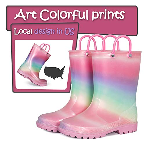 SHOFORT Kids Boys Girls Rain Boots with Easy-on Handles Rainboots (Toddler/Little Kid/Big Kid)