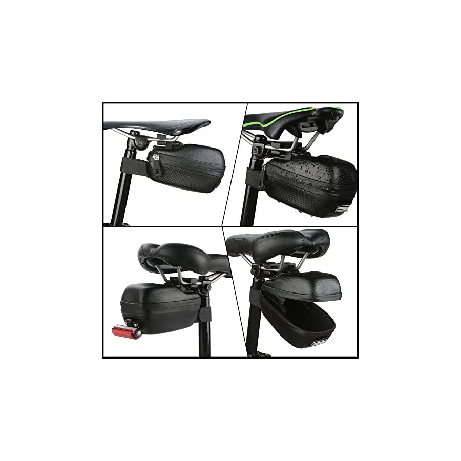 MOREZONE Bicycle Saddle Bag Strap On Seat Bags MTB Bike Cycling Seat Pack Rainproof (Black)