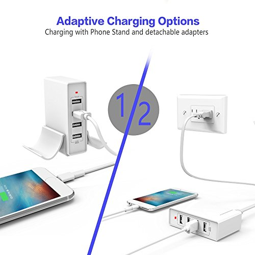 Atizzy Multi Port Usb Charger with Phone Stand, 24W 4.8A 4-Port Usb Hub Rapid Desktop Charging Station Usb Adapter for Apple iOS,Samsung Android & All Other USB Enabled Devices-White by Atizzy (Image #4)