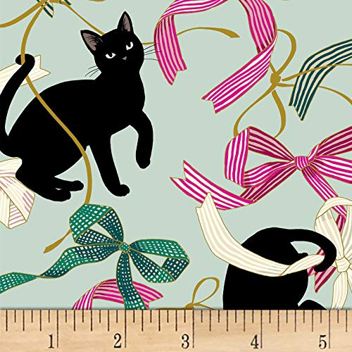 Quilt Gate - Quilt Gate Neko IV Metallic Cats And Bows Fabric, Pale Green, Fabric By The Yard