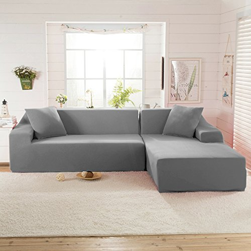 Littlegrass Stretch Sectional Sofa Covers for L Shape Polyester Fabric Elastic Couch Slipcovers Grey((53.1-67″)+(68.9-86.6″), Grey)