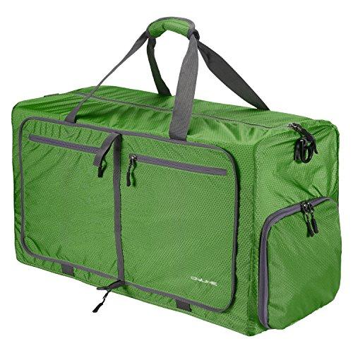 QYUHE 80L Foldable Duffle Totes Bag Waterproof Lightweight Extra Large Tear Resistant Luggage Shopping Travel Gym Sports Sling Bag Men Women Teens Handbag(Dark green) from QYUHE