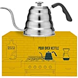 japanese pour over kettle - Pour Over Coffee Kettle with Thermometer for Exact Temperature - Gooseneck Pour Over Kettle for Drip Coffee and Tea (1.2 Liter | 40 fl oz)