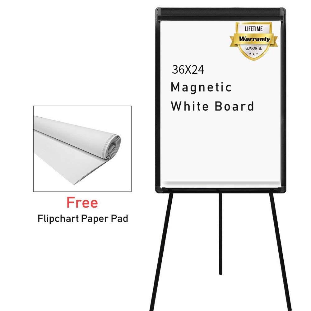 Stand White Board 36 x 24 Magnetic Dry Erase Board w/Flipchart Pad Tripod Easel Board maxtek